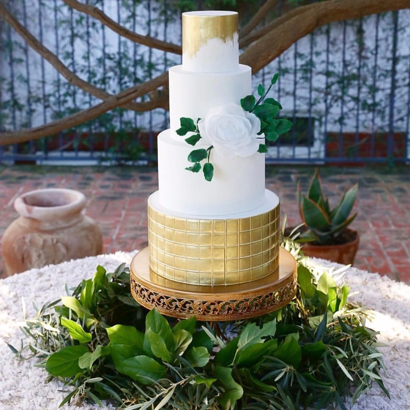 Tiered Gold Foil & White Wedding Cake on Gold Opulent Treasures Cake Stand