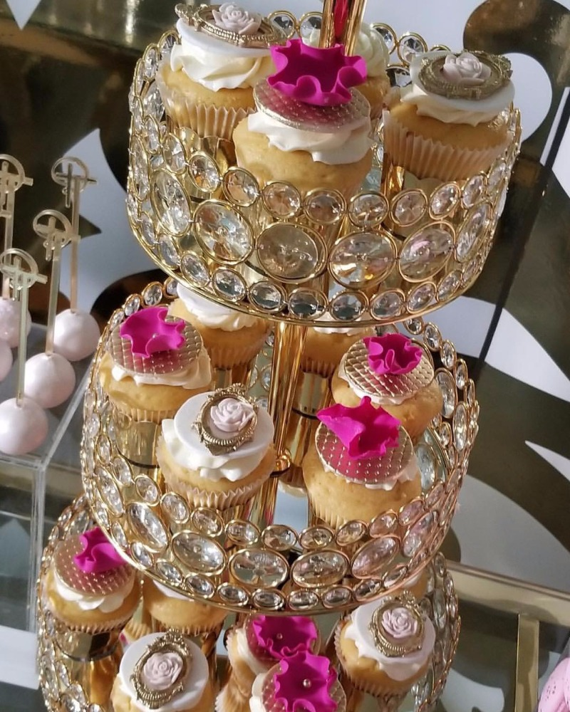 Cupcake Bling!! Opulent Treasures Tiered Dessert Stand is perfect for a glamorous wedding dessert table!