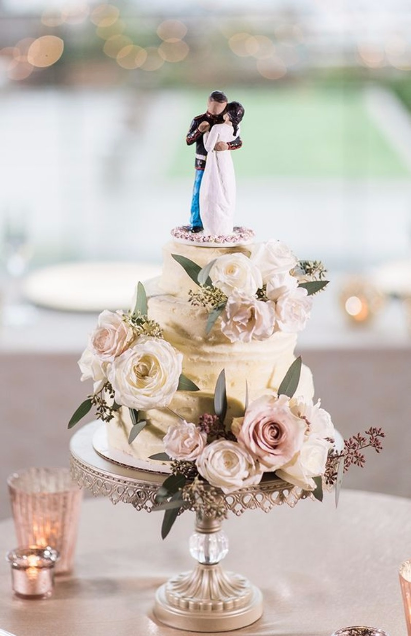 Tiered Wedding Cake with Custom Cake Topper on Antique Silver Opulent Treasures Cake Stand