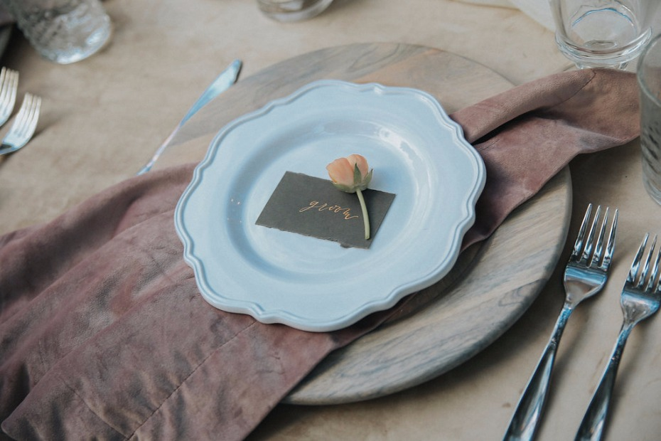 neutrals wedding place setting
