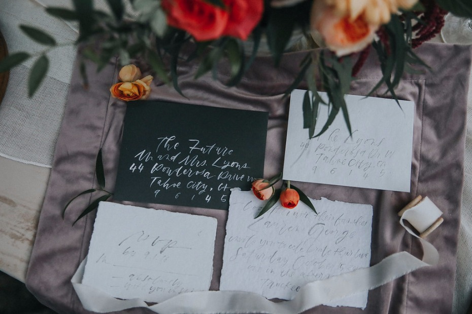 calligraphed wedding invitaions