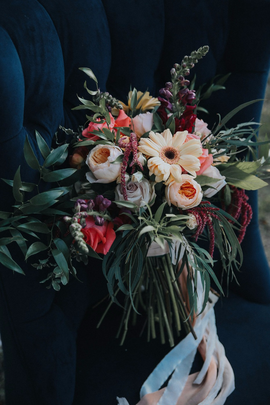wild cascading wedding bouquet