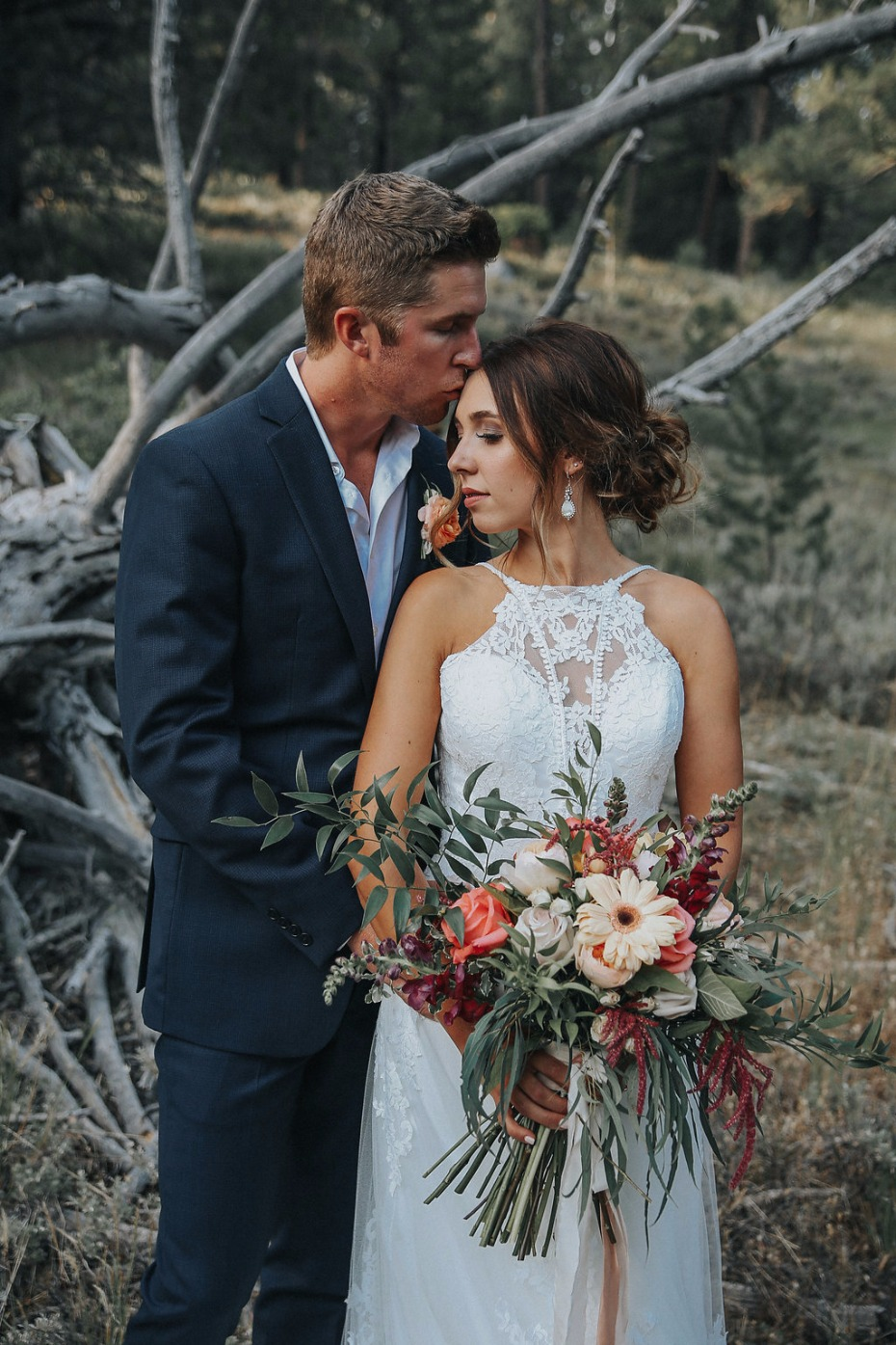rustic chic bride and groom wedding photo