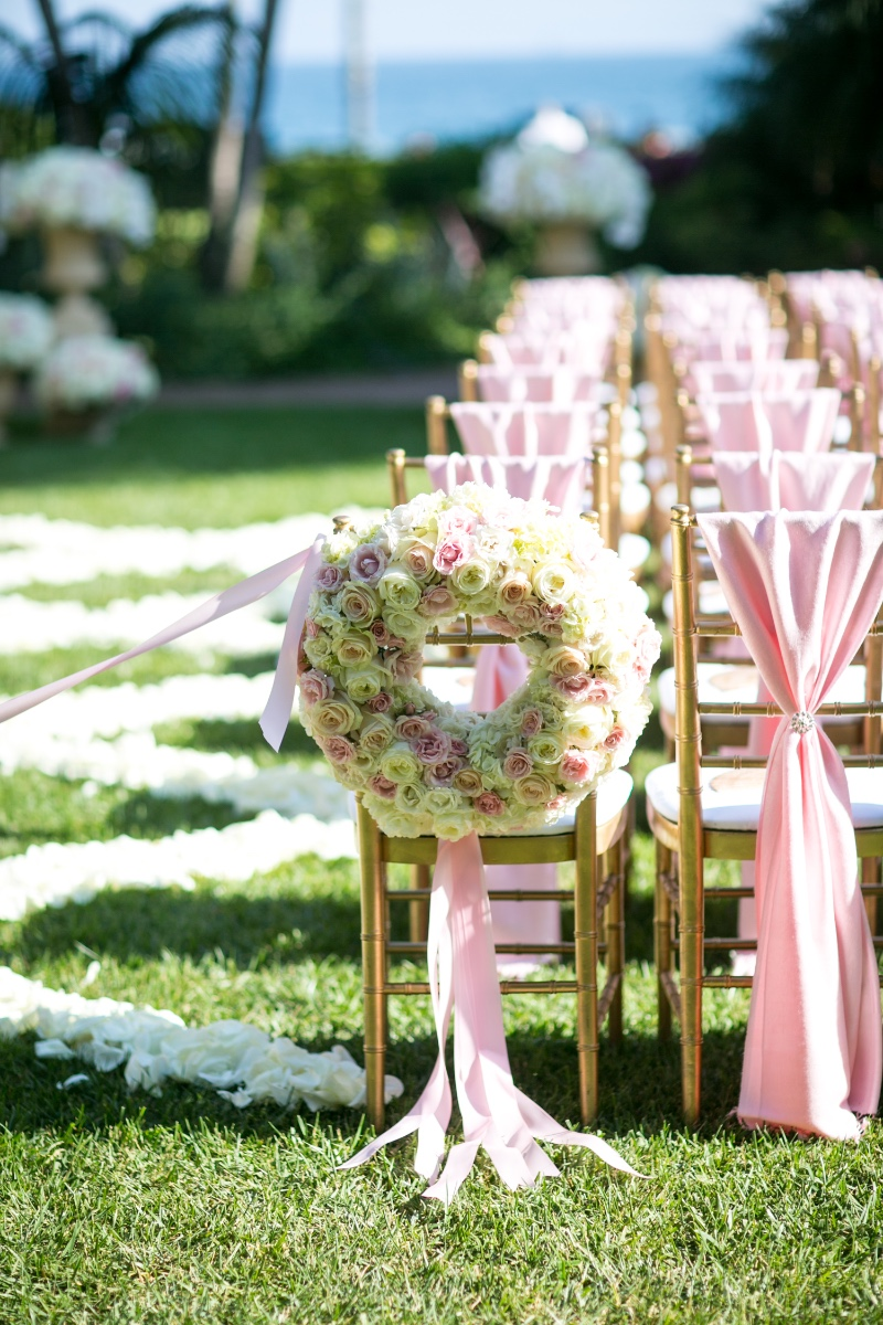 Pink Blush Rose Ceremony Four Seasons Santa Barbara Mariposa Garden Photo- Miki & Sonja Photography Styling/Planning- Magnolia
