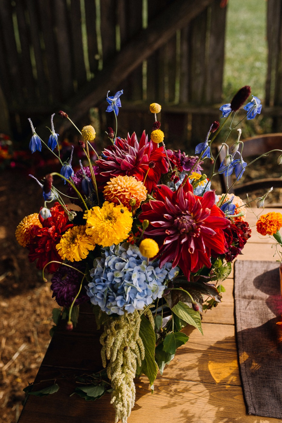 brightly colored wedding centerpiece
