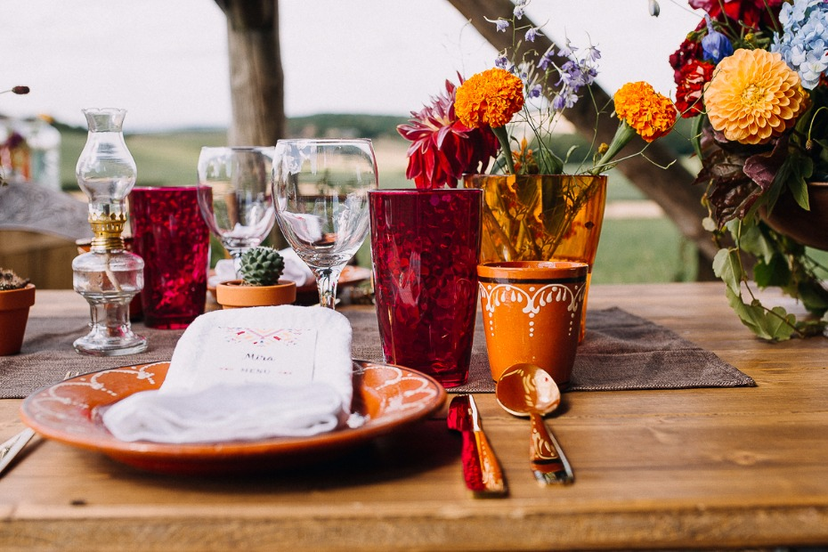 fiesta style wedding place setting
