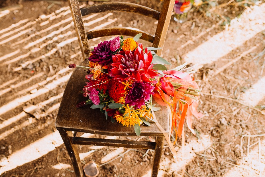 fun and funky brightly colored wedding bouquet