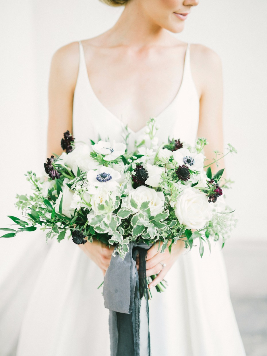 White, green and black bouquet