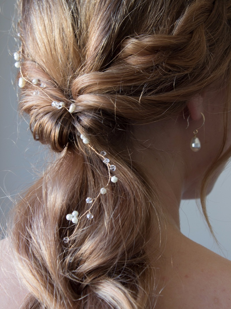 The Ilena Hair Vine is perfect for weaving in and out of any bridal hairstyle.