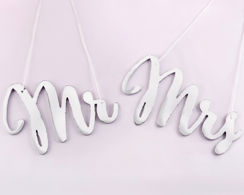 Mark your spot at the reception with these Silver Mirror Mr. and Mrs. Chair Signs!