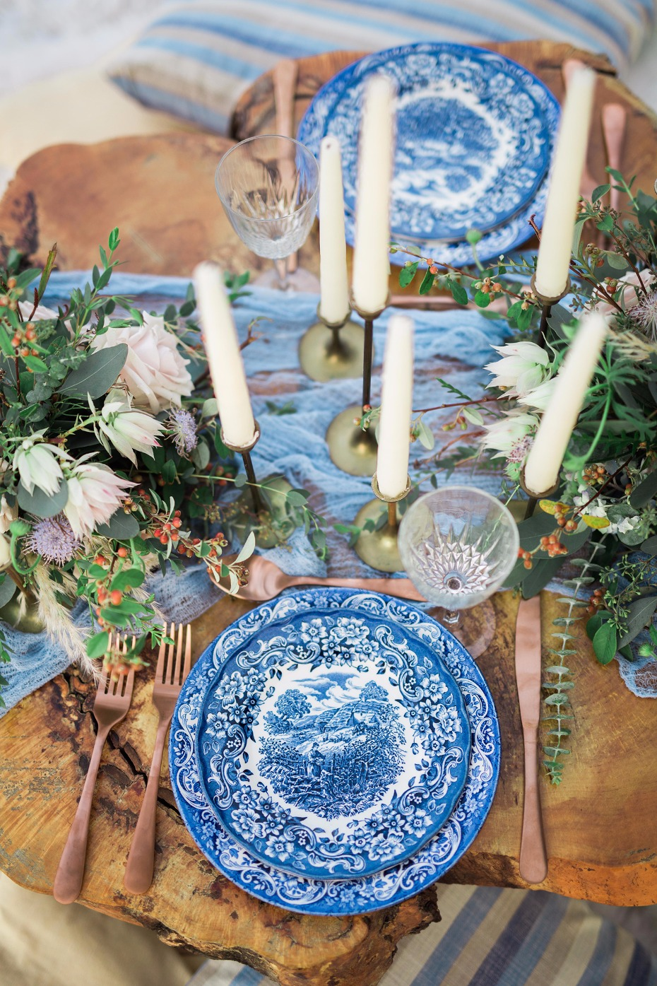 Vintage dishware for the sweetheart table