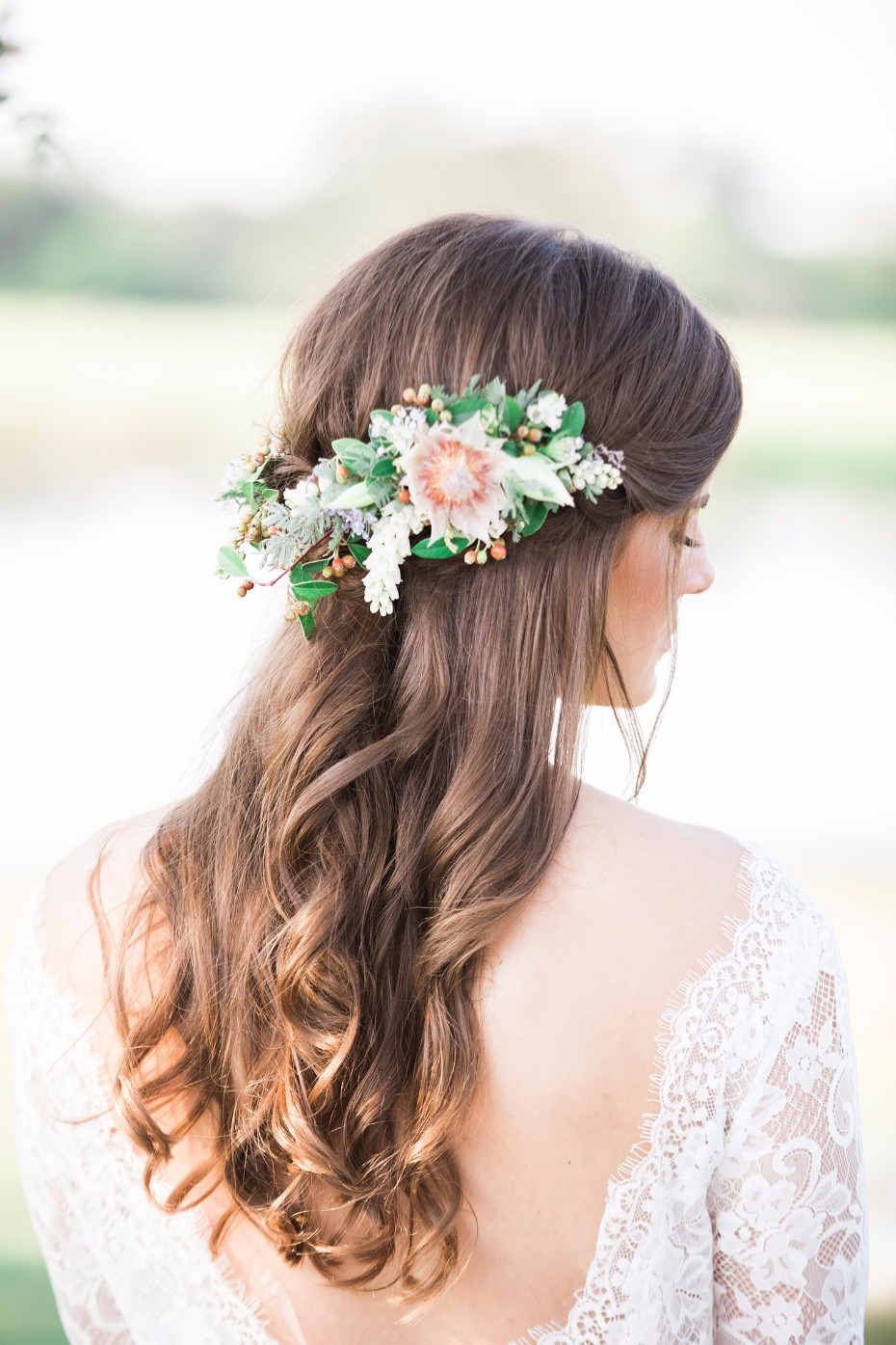 Perfect wedding hair with florals accessory