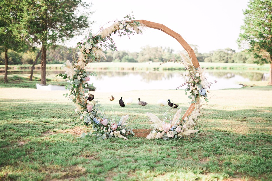 Ceremony backdrop circle idea