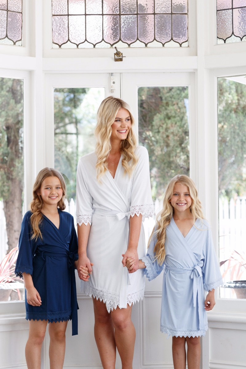 Gorgeous robes to match the whole bridal party, including your little ones