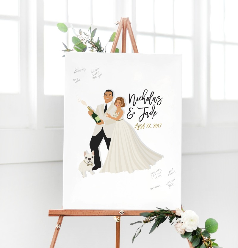 Any NYE weddings out there? This custom guest book alternative features illustrations of the couple popping a bottle of champagne,