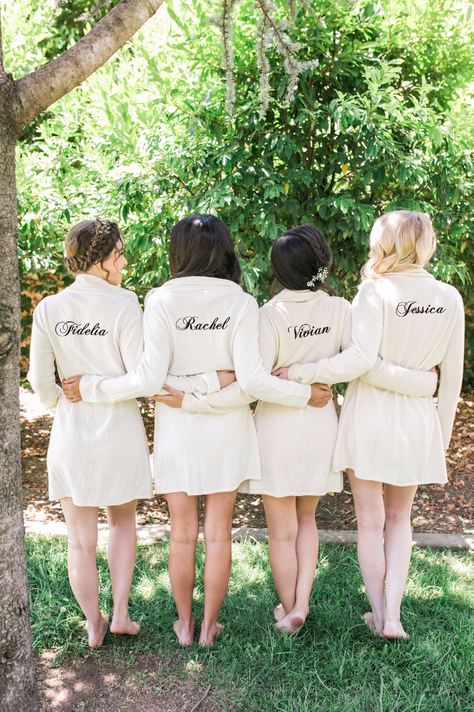 Custom cashmere robes for the bridesmaids