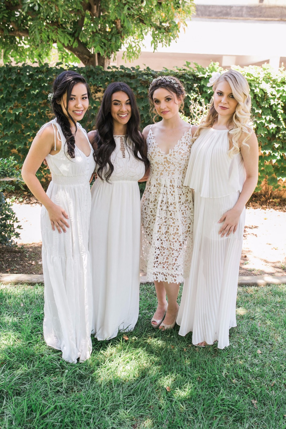 French picnic for bridesmaids in all white
