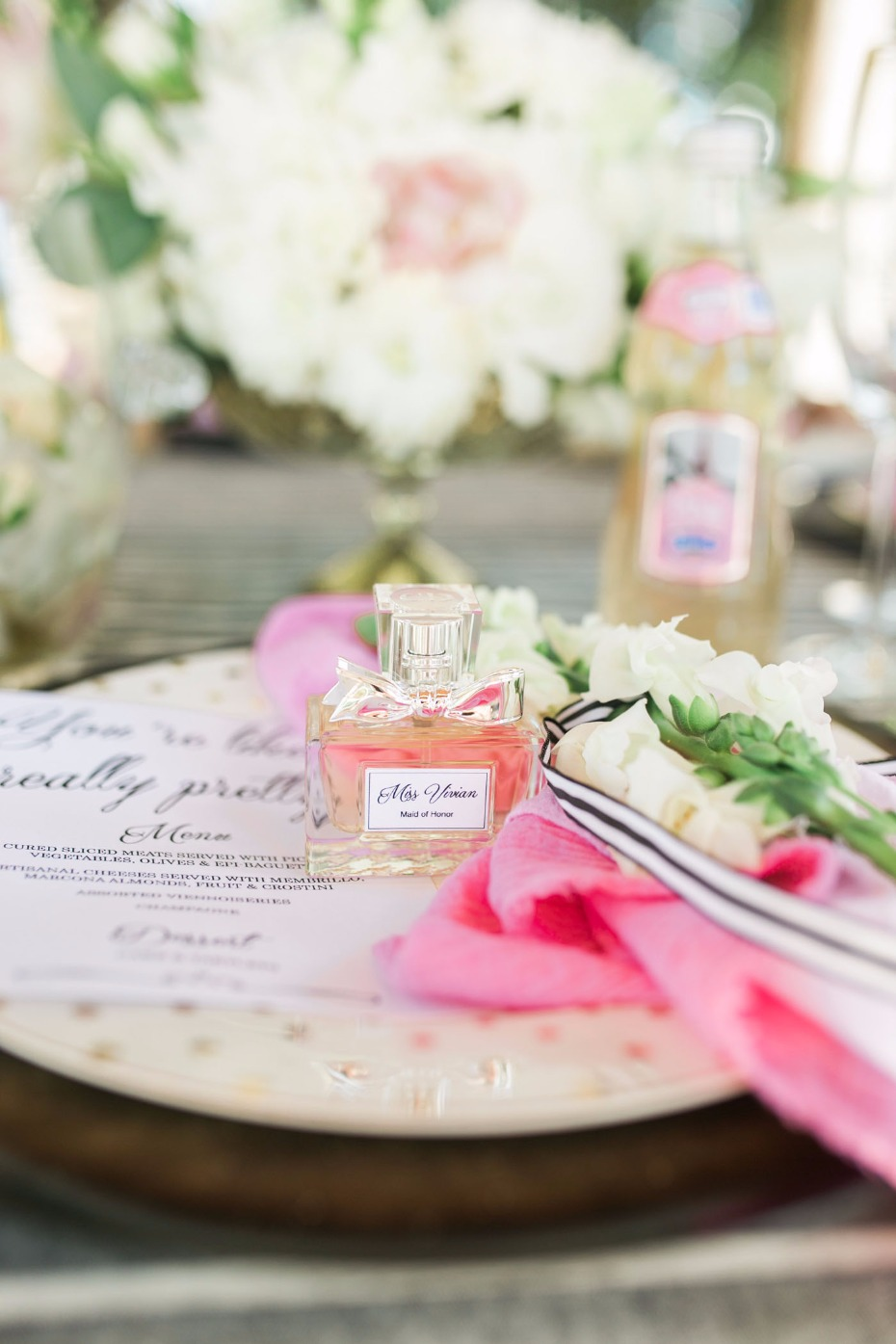 Perfume bottle favors with custom labels