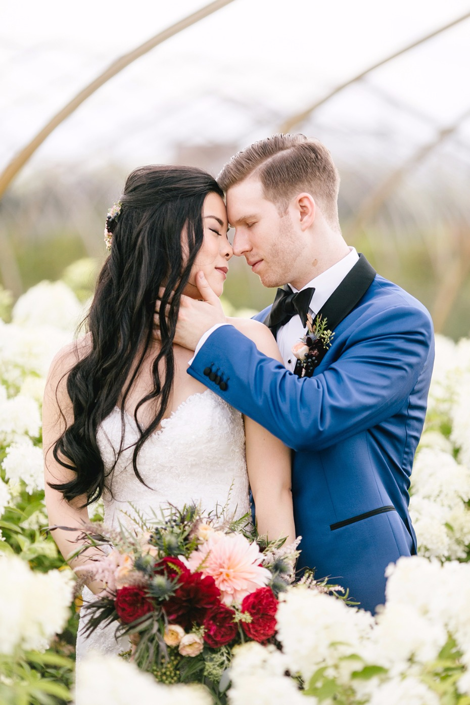 romantic flower farm wedding photos