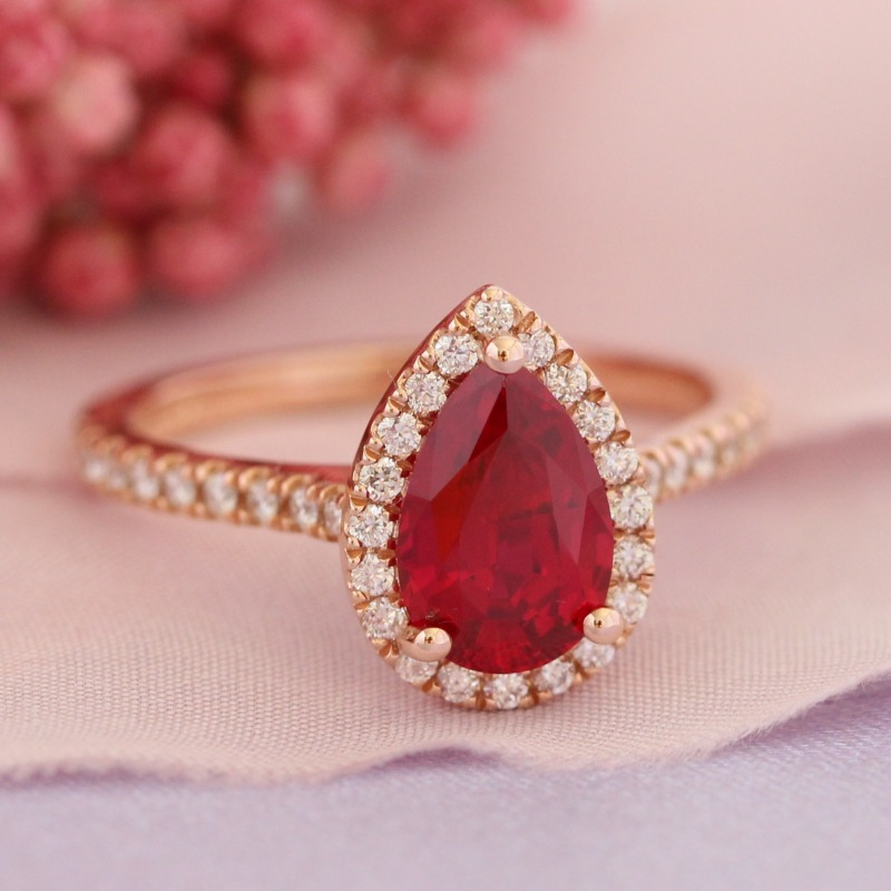 Pear Ruby Engagement Ring in Rose Gold Halo Diamond Band - 9x6mm by La More Design in NYC