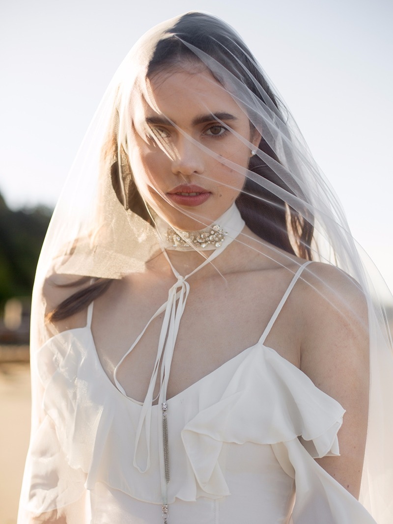 Veil, chokers, and the Lotta gown by Davie & Chiyo. #yesplease