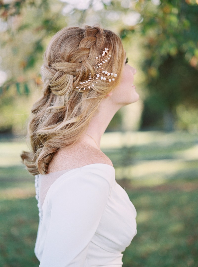 Sprouting pearl bridal headpiece for an English countryside elopement