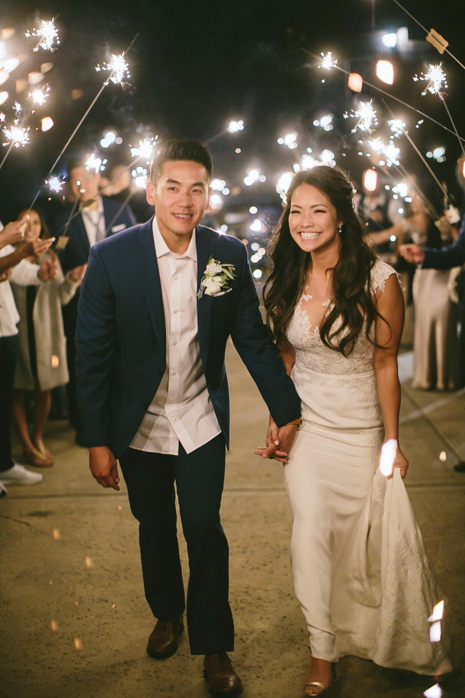 magical sparkler exit for the newlyweds