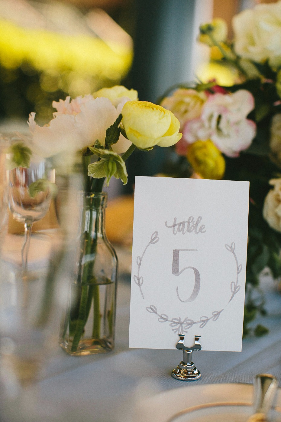 simple and elegant wedding table number