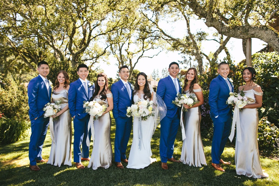 royal blue and silver wedding party