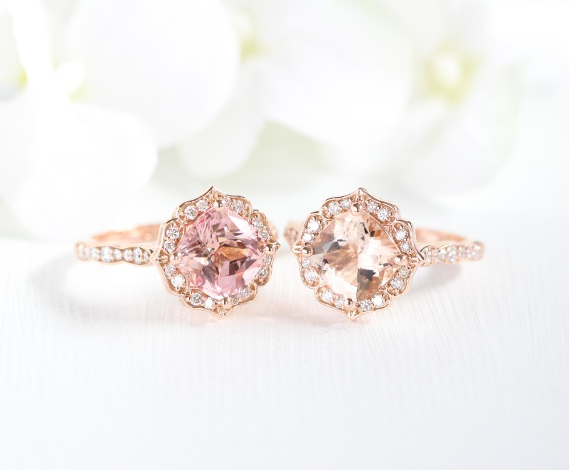Champagne Peach Sapphire (left) and Morganite (right) in 8x8 Cushion Vintage Floral Ring in Rose Gold Scalloped Band. Shop this collection