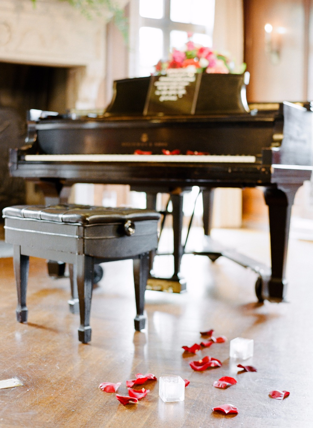 romantic grand piano played by the groom