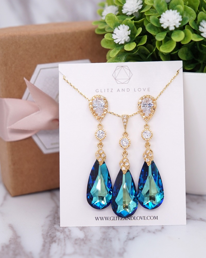 Something Blue Earrings and Necklace Set, Swarovski Crystal, Peacock wedding, gold, silver, rose gold, brides, bridesmaid, bridal shower