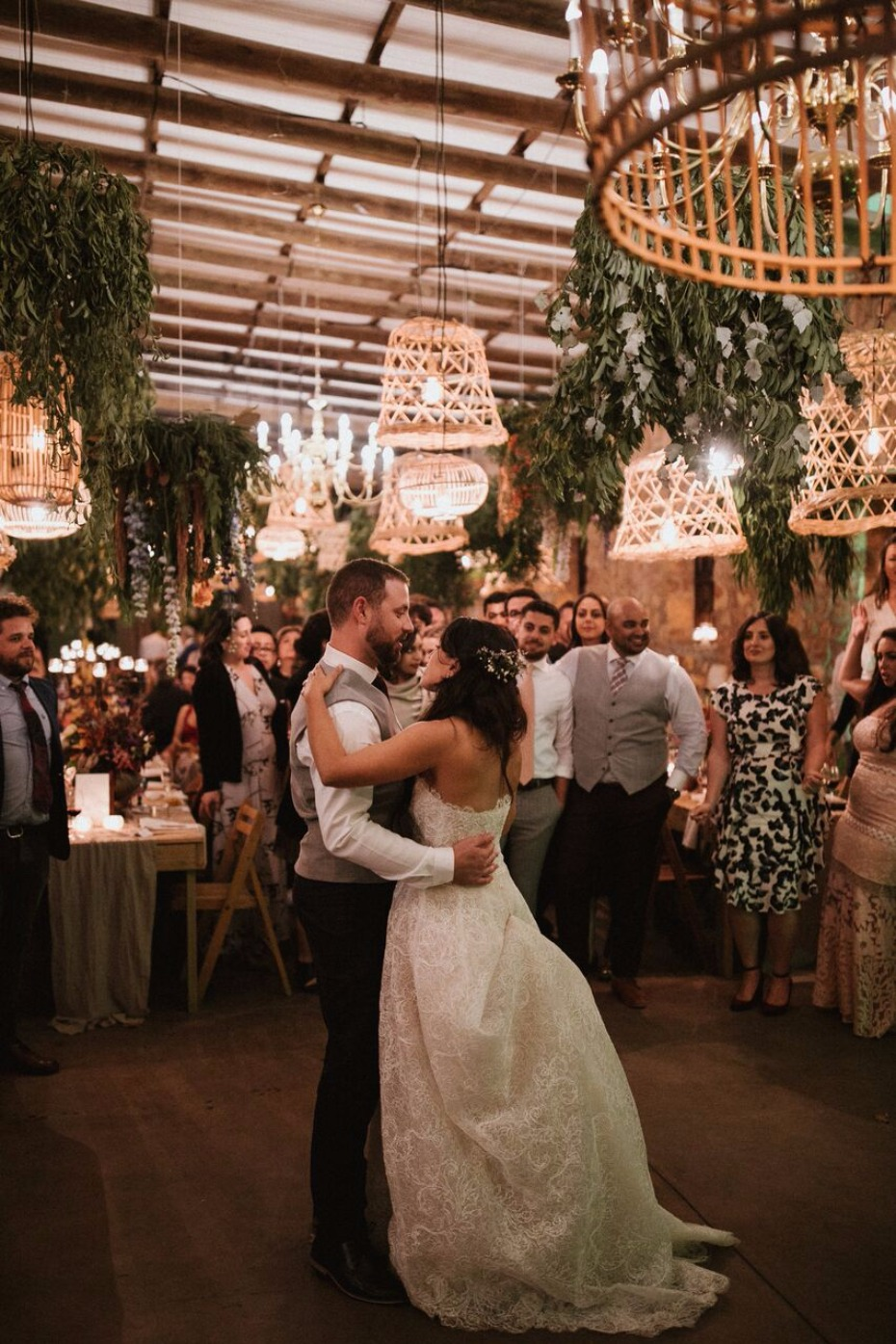 First dance romance with basket lighting