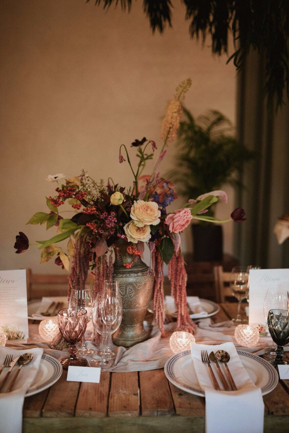 Moody floral centerpiece