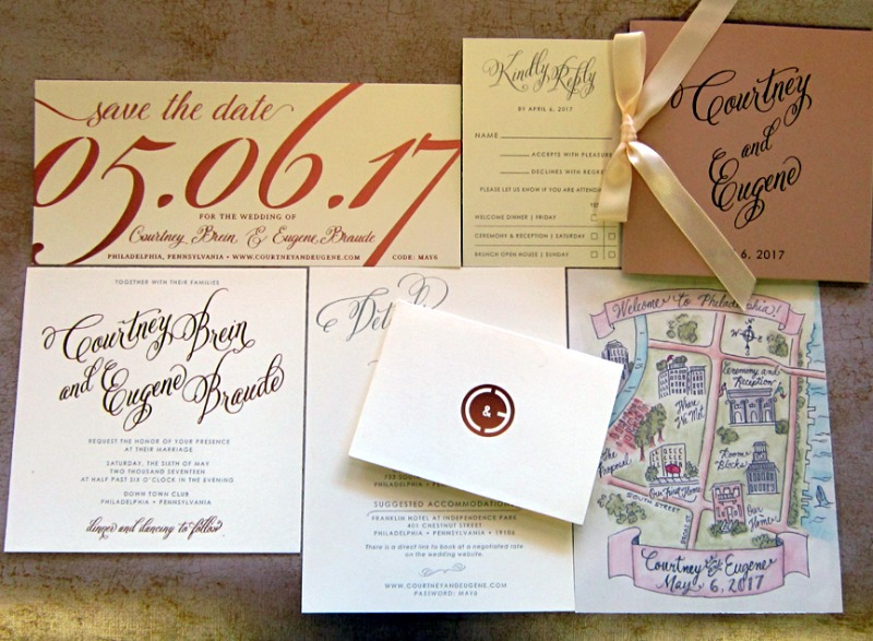Custom rose gold foil and watercolor illustration of Philadelphia by Persnickety Invitation Studio.