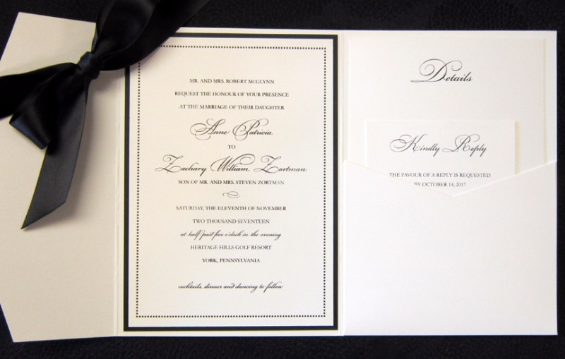 Sweet and Simple. The perfect black and white touch for a traditional ceremony, printed in thermography. Designed by Persnickety Invitation
