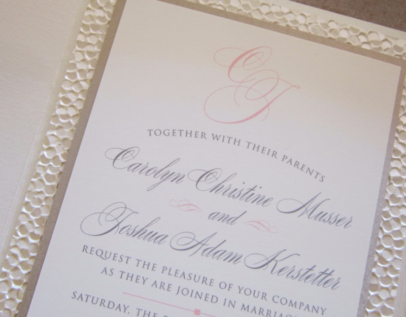 Pebble paper makes all the difference. Design by Persnickety Invitation Studio.