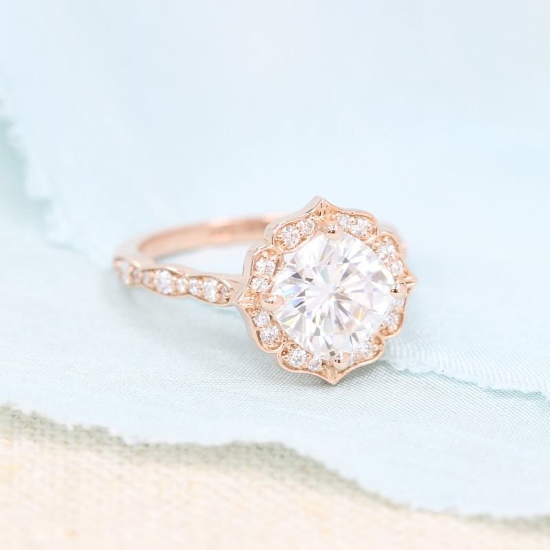 Vintage Floral Forever One Moissanite Engagement Ring in Rose Gold Diamond Scalloped Band by La More Design in NYC