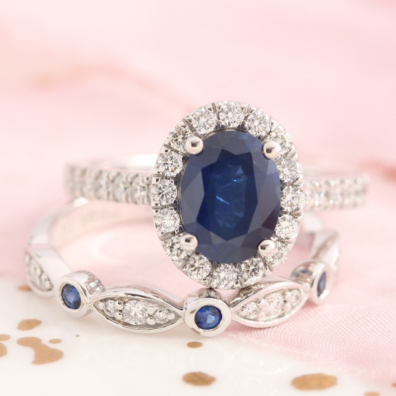 Halo Diamond Sapphire Ring Bridal Set in White Gold Scalloped Diamond and Sapphire Band by La More Design in NYC