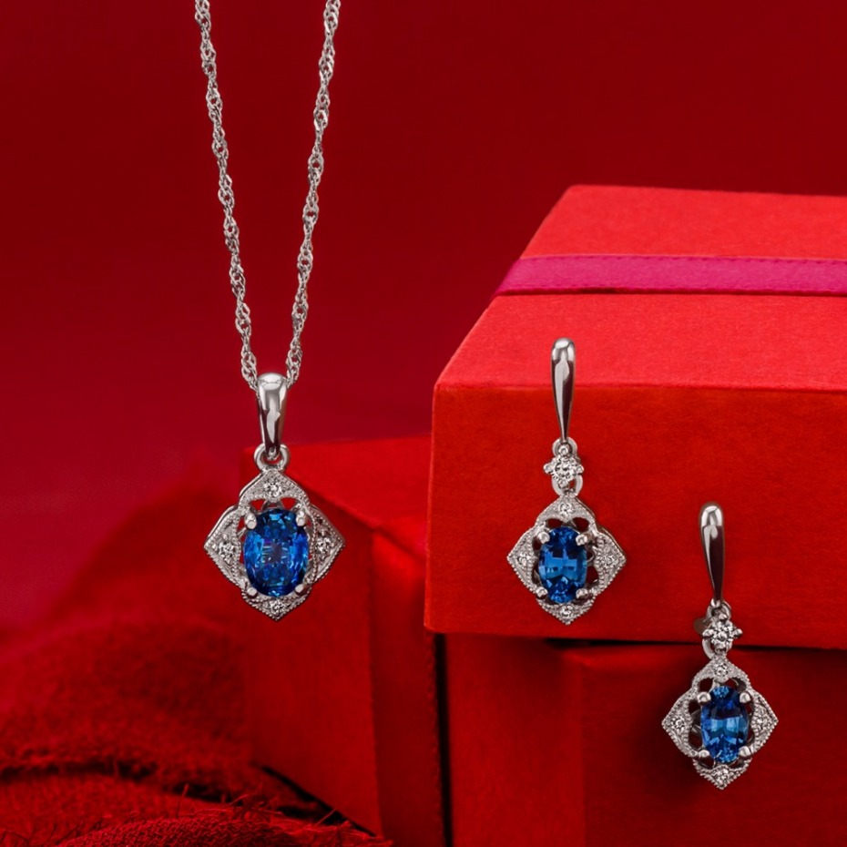 Holiday gift idea for her -blue sapphires and diamonds