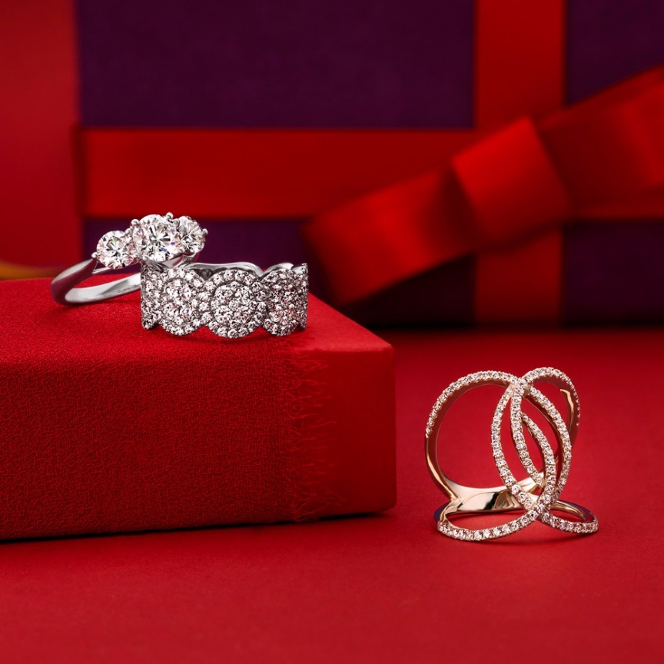 Holiday gift idea for her -diamond rings