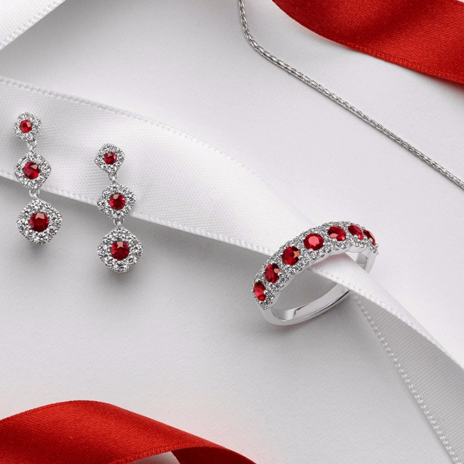Holiday gift idea for her - rubies and diamond jewelry set