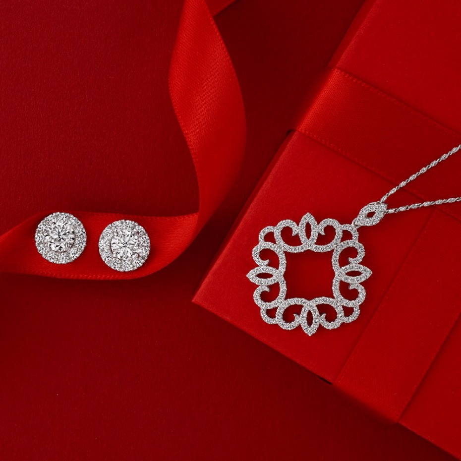 Holiday gift idea for her - diamond earrings and necklace