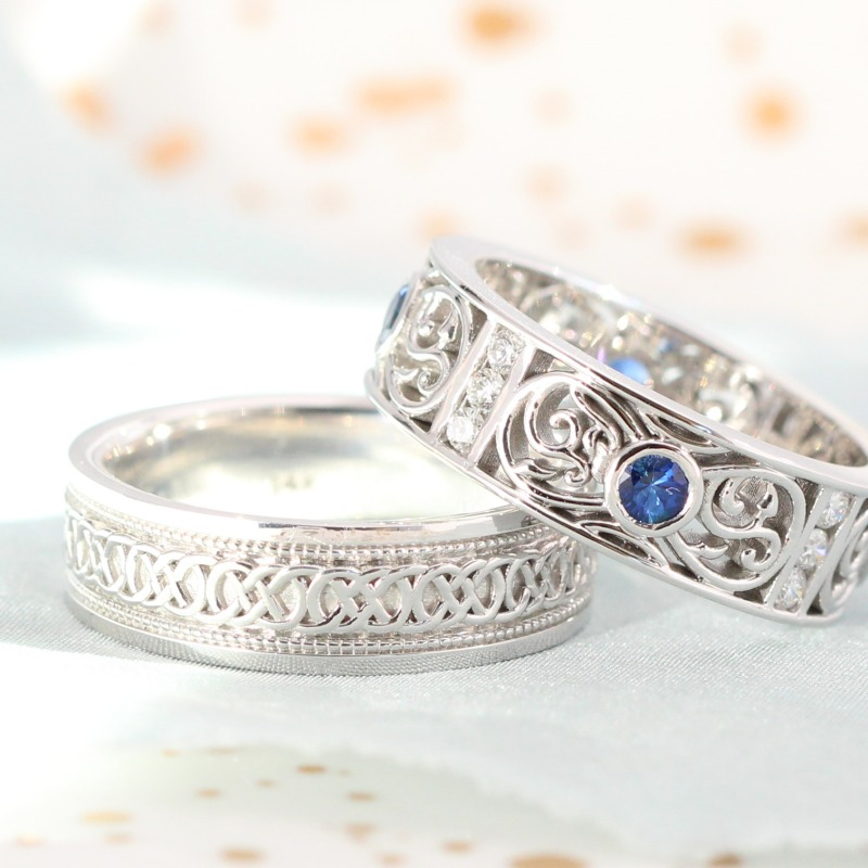 Men's Wedding Bands, styles ranging from vintage-inspired, to simple and classic, to intricate and unqiue. By La More Design in NYC