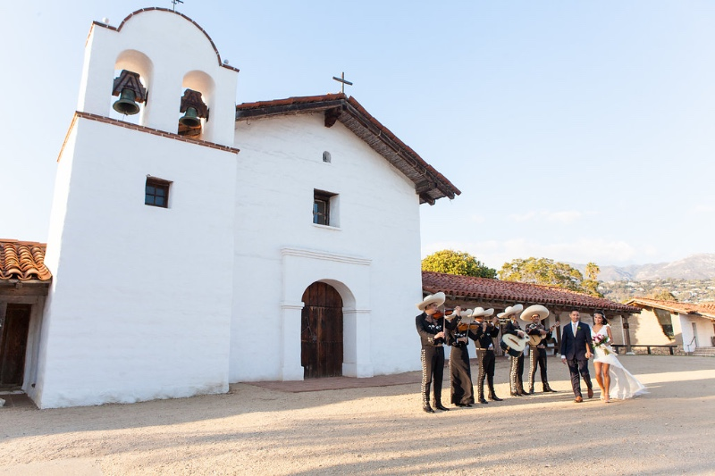 Santa Barbara Presidio Wedding with Mariachi Band designed by Magnolia Event Design & Planning Reception following at Santa Barbara