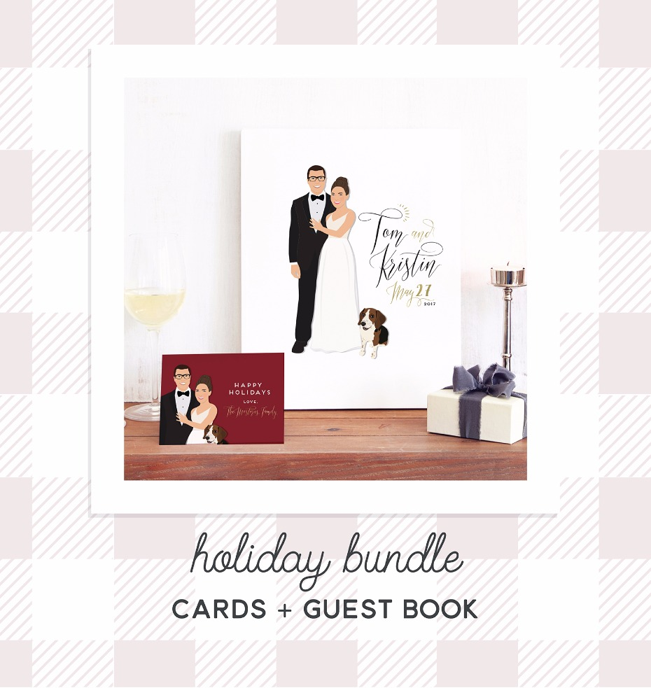 Custom guest book and Christmas cards from Miss Design Berry