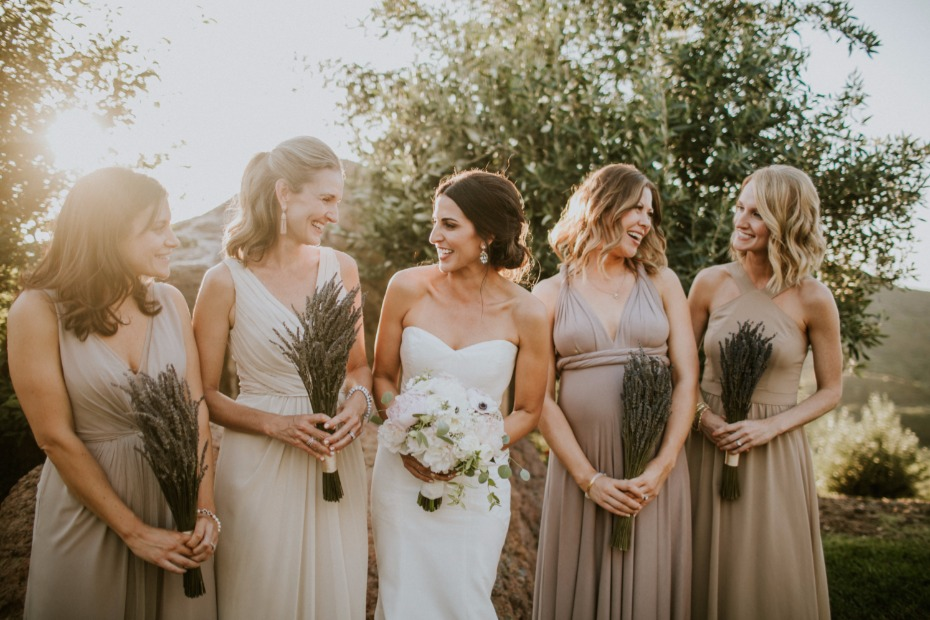 Mix and match bridesmaid dresses in neutral