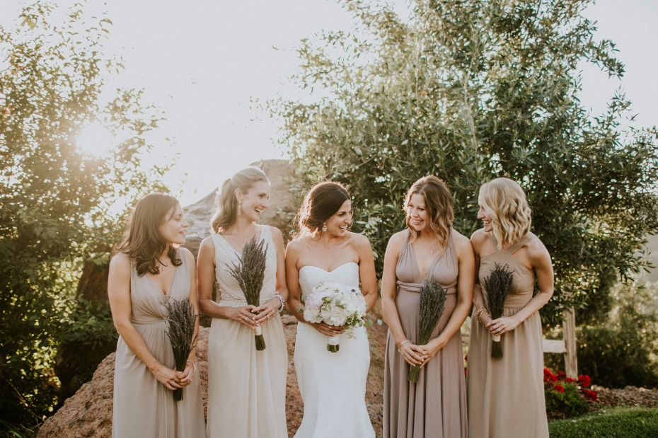 Neutral mix and match bridesmaid dresses