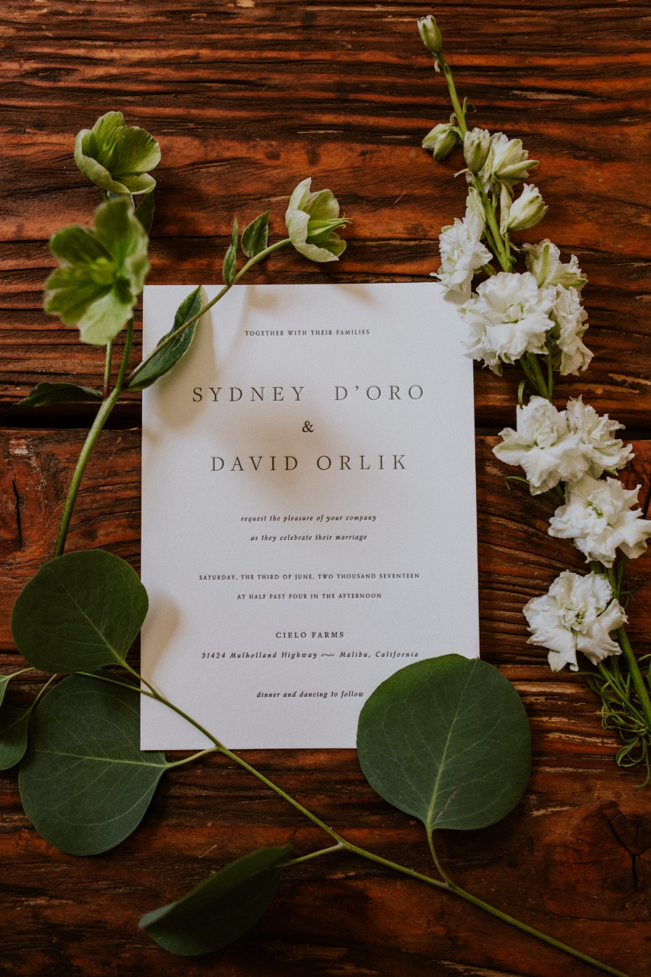 Simple white invitation