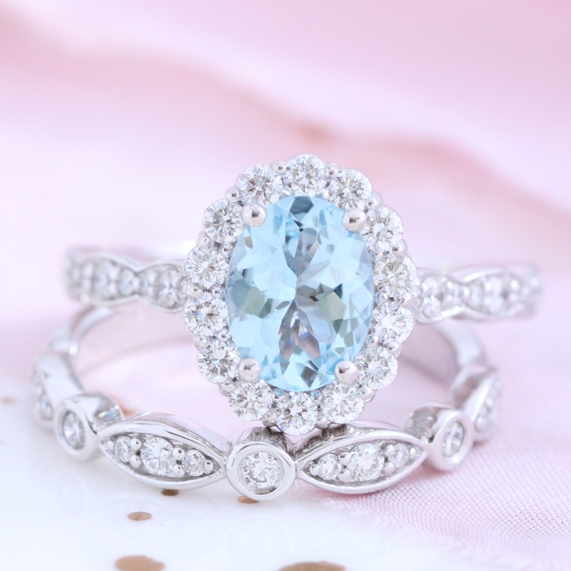 Oval Aquamarine Ring Bridal Set in White Gold Halo Diamond Bezel Scalloped Band by La More Design in NYC
